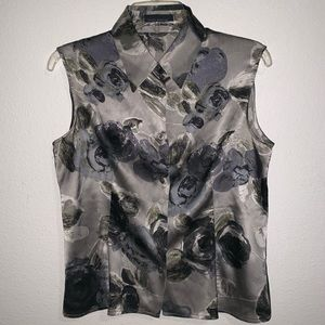 Piazza Sempione Silk Floral Rose Blouse Button Up